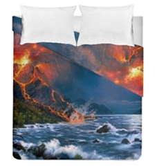 Eruption Of Volcano Sea Full Moon Fantasy Art Duvet Cover Double Side (queen Size) by Onesevenart