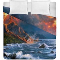 Eruption Of Volcano Sea Full Moon Fantasy Art Duvet Cover Double Side (king Size) by Onesevenart
