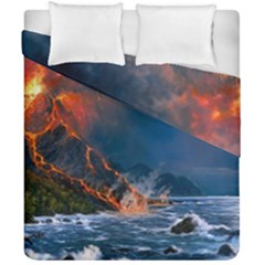 Eruption Of Volcano Sea Full Moon Fantasy Art Duvet Cover Double Side (california King Size) by Onesevenart