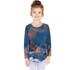 Eruption Of Volcano Sea Full Moon Fantasy Art Kids  Long Sleeve Tee by Onesevenart