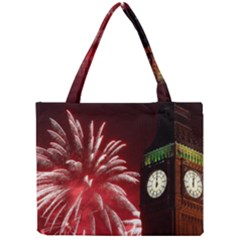 Fireworks Explode Behind The Houses Of Parliament And Big Ben On The River Thames During New Year's Mini Tote Bag by Onesevenart