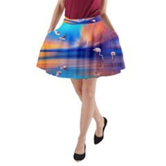 Flamingo Lake Birds In Flight Sunset Orange Sky Red Clouds Reflection In Lake Water Art A-Line Pocket Skirt