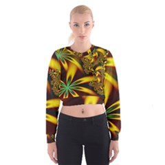 Floral Design Computer Digital Art Design Illustration Women s Cropped Sweatshirt