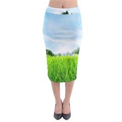 Green Landscape Green Grass Close Up Blue Sky And White Clouds Midi Pencil Skirt by Onesevenart