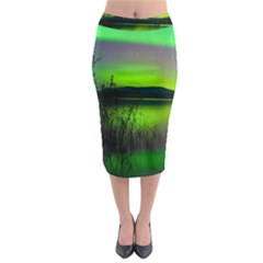 Green Northern Lights Canada Midi Pencil Skirt by Onesevenart