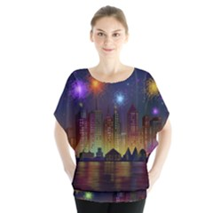 Happy Birthday Independence Day Celebration In New York City Night Fireworks Us Blouse