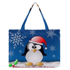 Happy Holidays Christmas Card With Penguin Medium Zipper Tote Bag by Onesevenart
