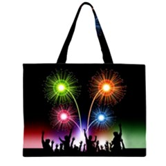 Happy New Year 2017 Celebration Animated 3d Large Tote Bag by Onesevenart