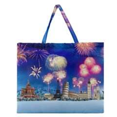 Happy New Year Celebration Of The New Year Landmarks Of The Most Famous Cities Around The World Fire Zipper Large Tote Bag by Onesevenart
