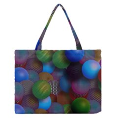 Multicolored Patterned Spheres 3d Medium Zipper Tote Bag by Onesevenart