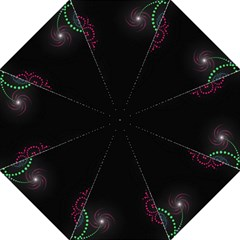 Neon Flowers And Swirls Abstract Golf Umbrellas by Onesevenart