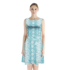 Snake Skin Blue Chevron Wave Sleeveless Chiffon Waist Tie Dress