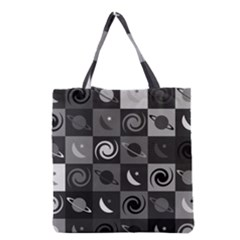 Space Month Saturnus Planet Star Hole Black White Grey Grocery Tote Bag by AnjaniArt