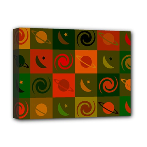 Space Month Saturnus Planet Star Hole Black White Multicolour Orange Deluxe Canvas 16  X 12   by AnjaniArt