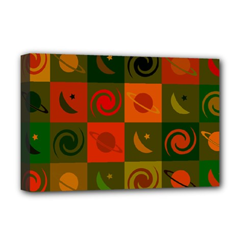 Space Month Saturnus Planet Star Hole Black White Multicolour Orange Deluxe Canvas 18  X 12   by AnjaniArt