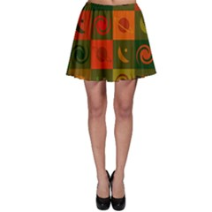 Space Month Saturnus Planet Star Hole Black White Multicolour Orange Skater Skirt