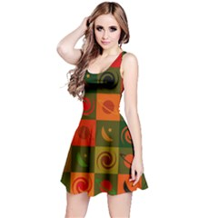 Space Month Saturnus Planet Star Hole Black White Multicolour Orange Reversible Sleeveless Dress by AnjaniArt