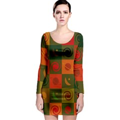 Space Month Saturnus Planet Star Hole Black White Multicolour Orange Long Sleeve Bodycon Dress by AnjaniArt