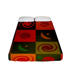Space Month Saturnus Planet Star Hole Black White Multicolour Orange Fitted Sheet (full/ Double Size) by AnjaniArt