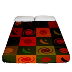 Space Month Saturnus Planet Star Hole Black White Multicolour Orange Fitted Sheet (california King Size) by AnjaniArt