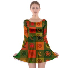 Space Month Saturnus Planet Star Hole Black White Multicolour Orange Long Sleeve Skater Dress by AnjaniArt