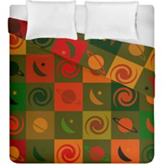 Space Month Saturnus Planet Star Hole Black White Multicolour Orange Duvet Cover Double Side (king Size) by AnjaniArt