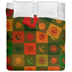 Space Month Saturnus Planet Star Hole Black White Multicolour Orange Duvet Cover Double Side (california King Size) by AnjaniArt