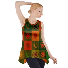 Space Month Saturnus Planet Star Hole Black White Multicolour Orange Side Drop Tank Tunic by AnjaniArt