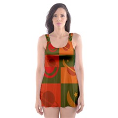 Space Month Saturnus Planet Star Hole Black White Multicolour Orange Skater Dress Swimsuit by AnjaniArt