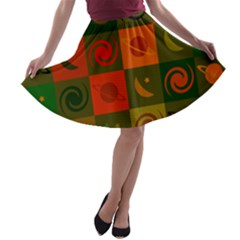 Space Month Saturnus Planet Star Hole Black White Multicolour Orange A Line Skater Skirt by AnjaniArt