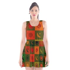 Space Month Saturnus Planet Star Hole Black White Multicolour Orange Scoop Neck Skater Dress by AnjaniArt