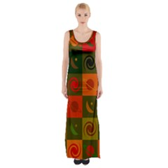 Space Month Saturnus Planet Star Hole Black White Multicolour Orange Maxi Thigh Split Dress by AnjaniArt