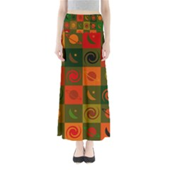 Space Month Saturnus Planet Star Hole Black White Multicolour Orange Maxi Skirts by AnjaniArt