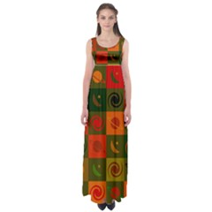 Space Month Saturnus Planet Star Hole Black White Multicolour Orange Empire Waist Maxi Dress by AnjaniArt