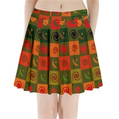 Space Month Saturnus Planet Star Hole Black White Multicolour Orange Pleated Mini Skirt by AnjaniArt