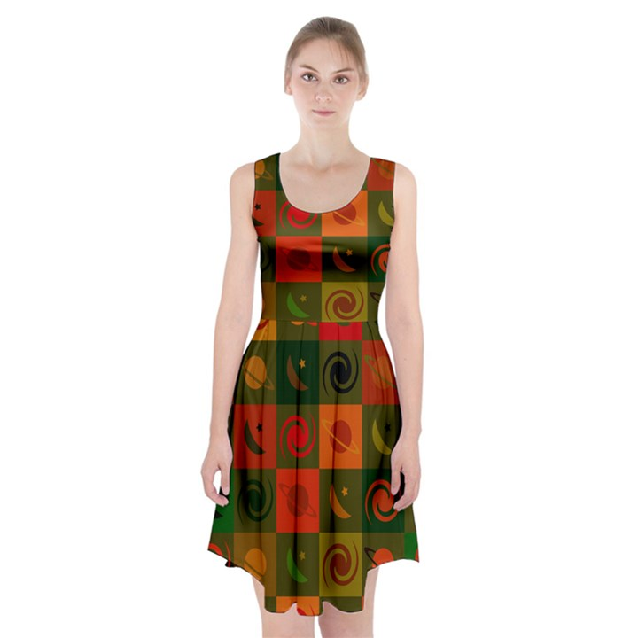 Space Month Saturnus Planet Star Hole Black White Multicolour Orange Racerback Midi Dress
