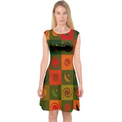 Space Month Saturnus Planet Star Hole Black White Multicolour Orange Capsleeve Midi Dress by AnjaniArt