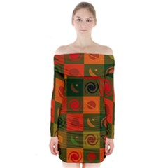 Space Month Saturnus Planet Star Hole Black White Multicolour Orange Long Sleeve Off Shoulder Dress by AnjaniArt