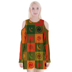 Space Month Saturnus Planet Star Hole Black White Multicolour Orange Velvet Long Sleeve Shoulder Cutout Dress by AnjaniArt