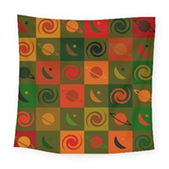 Space Month Saturnus Planet Star Hole Black White Multicolour Orange Square Tapestry (large) by AnjaniArt