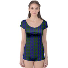 Split Diamond Blue Green Woven Fabric Boyleg Leotard  by AnjaniArt