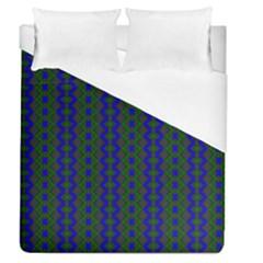 Split Diamond Blue Green Woven Fabric Duvet Cover (queen Size) by AnjaniArt