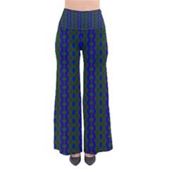 Split Diamond Blue Green Woven Fabric Pants by AnjaniArt