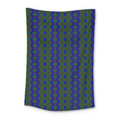 Split Diamond Blue Green Woven Fabric Small Tapestry by AnjaniArt