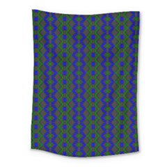 Split Diamond Blue Green Woven Fabric Medium Tapestry by AnjaniArt