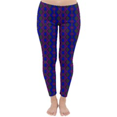 Split Diamond Blue Purple Woven Fabric Classic Winter Leggings by AnjaniArt