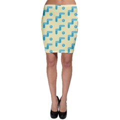 Squiggly Dot Pattern Blue Yellow Circle Bodycon Skirt by AnjaniArt