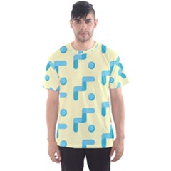 Squiggly Dot Pattern Blue Yellow Circle Men s Sport Mesh Tee