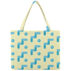 Squiggly Dot Pattern Blue Yellow Circle Mini Tote Bag by AnjaniArt