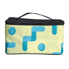 Squiggly Dot Pattern Blue Yellow Circle Cosmetic Storage Case by AnjaniArt
